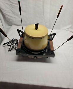 Vintage Cornwall Electric Fondue Set 4 Forks mustard yellow works great