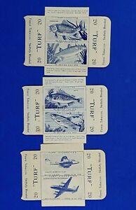 3x Turf Cigarette Cards Double Slides 2x British Fish 1x British Aircraft