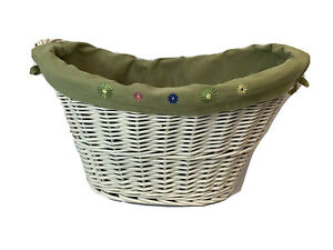 Boho Shabby Chic Wicker Oval Basket With Avocado Liner Embroidered Daisies EUC