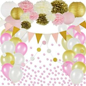 Pink and Gold Party Decorations, 50 pc Pink Party Supplies, Paper Pom Poms