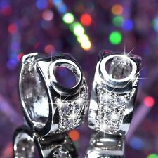 18K WHITE GOLD GF STUD MADE WITH SWAROVSKI CRYSTAL HUGGIES EARRINGS small size