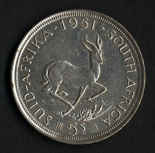 South Africa * 1951 * King George VI Silver 5 Shillings or Crown * in high grade