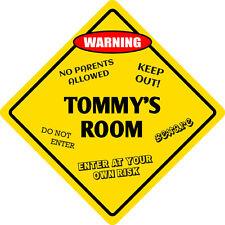 """*Aluminum* Tommy's Room Kids Room Door 12""""x12""""  Metal Novelty Sign"""