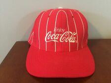 Vtg Coke Striped Flat Snapback Patch Hat Cap USA Made Coca Cola Uniform Nissin