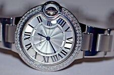 Womens Cartier Ballon Bleu Midsize 33mm Diamonds Everywhere