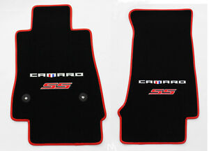 NEW! Black Carpet Floor Mats 2016-2021 Camaro Embroidered SS Double Logo Red DLX