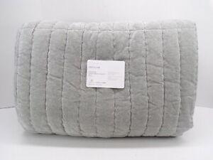Pottery Barn Hudson Heathered Luxe Velvet Cotton Quilt King Cal King Gray #4923L