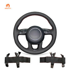 DIY Hand-Stitched Black Leather Steering Wheel Cover for Audi Q3 Q5 2013-2015