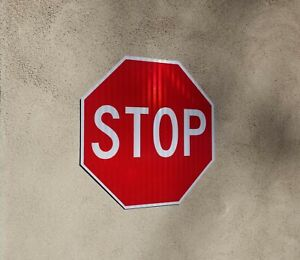 STOP SIGN NEW REFLECTIVE METAL - LEGAL - DOT Approved 18 x 18 3m Warranty!