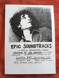 EPIC SOUNDTRACKS Solo Acoustic Show Flyer Original A4 Swell Maps Nikki Sudden