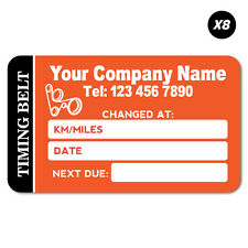 8x Custom Company Name Timing Belt Service Due Car Sticker Decal Next Oil #75...