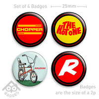"RALEIGH CHOPPER Mk2 Love 70's Vintage Retro-1"" Badge x4 Badges NEW - Set 2"