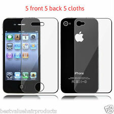 Quality Clear Screen Protector/Film 5 Front 5 Back & 5 Cloths Apple iphone 4/4S