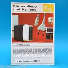 Trockenrasierer TR 12 DDR 1971 | Prospekt Werbung Werbeblatt DEWAG S3 E