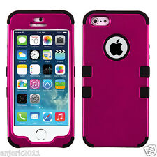 APPLE iPhone 5 5S T ARMOR HYBRID CASE SKIN COVER +SCREEN PROTECTOR HOT PINK