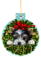 Biewer Terrier Ornament Christmas Tree painting Dog Puppy Art Wreath Free 2015