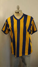 Vtg 1970's Russell Athletics vertical Stripe Mesh Jersey Blue/Yellow sz L Mint !