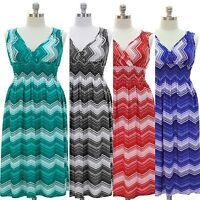 NWT JON & ANNA Chevron Stripe V-Neck Sleeveless Smocked Maxi Summer Beach Dress
