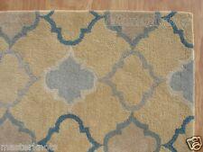 New Scroll Yellow Gold Blue 8' x 10' Handmade 100% Wool Soft Area Rug Carpet