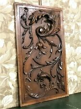 Antique french griffin scroll leaf walnut carving panel architectural reclaim