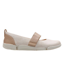 Clarks Ladies Mary Jane Shoes TRI CARRIE White Combi Leather UK 6 / EU 39.5