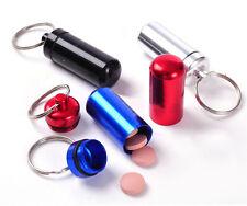 1×Cute Mini Waterproof Aluminum Pill Box Case Bottle Holder Keychain New