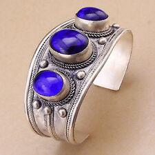 Unisex Vintage Oval Lapis Lazuli Stone Bead Cuff Bracelet Bangle Tibet Silver