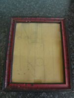 Mid- 20th century black/red picture frame with design drawing on hardboard