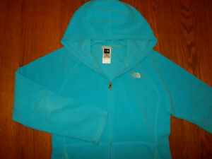 THE NORTH FACE FULL ZIP AQUA BLUE HOODED FLEECE JACKET GIRLS XL 18 EXCELLENT