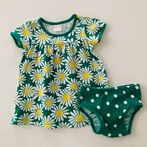 Hanna Andersson Baby Girl 12 18 Months Daisy Print Dress & Diaper Cover Set