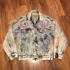 Vtg 80s Levi's Stone Acid Washed Blue Jean Jacket Bedazzled Denim Coat Small