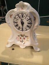 "Metron Kwarc Mantle Clock Working Porcelain From Poland Vtg 8"" X 5"" X 3"" White"