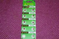 10 Pc's Watch Batteries  AG1  364  LR621  FREE SHIPPING .......Expiration 2021