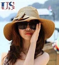 Women's Straw Sun Hat Ladies Floppy Wide Brimmed Summer Beach Bow Hat Cap Brown