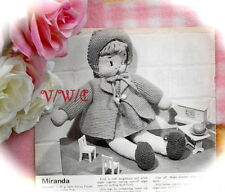 LARGE PRINT Vintage 50s Doll Knitting Pattern 'Miranda' & Clothes