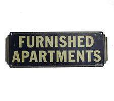 Vtg Antique 20s 40s Metal Sign For Rent FURNISHED APARTMENTS Studio Art Deco 30s
