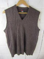 Robert Bruce Mens Sweater Vest Vtg V Neck Brown Made In USA Size Large