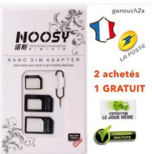 KIT 4 EN 1 ADAPTATEUR CARTE SIM - MICRO - NANO SIM IPHONE SAMSUNG TELEPHONE +CLE