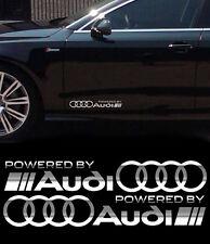Audi Rings powered by Aufkleber 2Stk Seitenaufkleber SPIEGELCHROMEFFEKT Folie