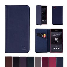 32nd Classic Genuine Real Leather Slim Wallet Case Cover For Sony Xperia Models