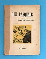 (AM) LIBRETTO OPERA-DON PASQUALE-DONIZETTI-EDIZIONE RICORDI 1959