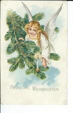 AT-080 - Angel on Tree Branch German Christmas Postcard 1909-1915