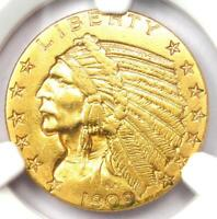 1909-D Indian Gold Half Eagle $5 Coin - Certified NGC AU Details - Rare Coin!
