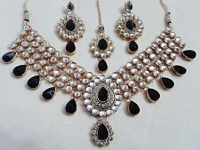Indian Gold Plated Kundans Stones Necklace & Earrings Bridal Party Jewelry Set