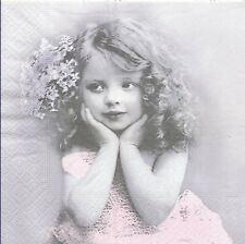 2 Serviettes en papier Fillette fleur Sagen Vintage - Paper Napkins Girl flower