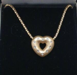 9ct 375 Yellow Gold Diamond Matt Brushed Open Heart Pendant Necklace
