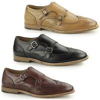 Paolo Vandini POWICK Mens Leather Smart Evening Brogue Monkstrap Buckle Shoes