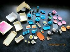 Vintage 1984 Mattel Barbie Dream Kitchen Pink & Blue Fridge & Food Accessories +