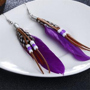 Vintage Earrings Retro Bohemia Feather Dream Catcher Long Earrings Drop Women