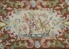 Antique Needlepoint Rug With Stylized Water Birds